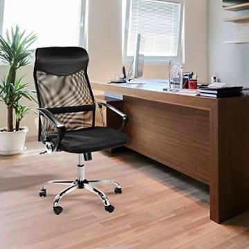 Design Bürostuhl mit Kopfstütze, Netzrücken, Wippfunktion & Armlehne - ergonomisch, höhenverstellbar - schwarz - 2