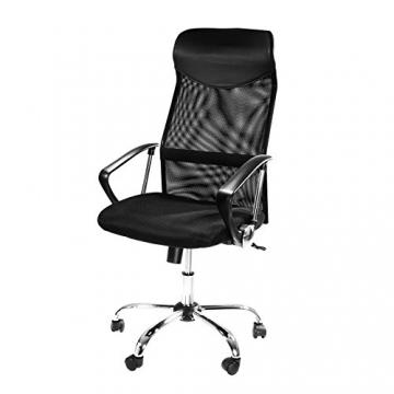Design Bürostuhl mit Kopfstütze, Netzrücken, Wippfunktion & Armlehne - ergonomisch, höhenverstellbar - schwarz - 1