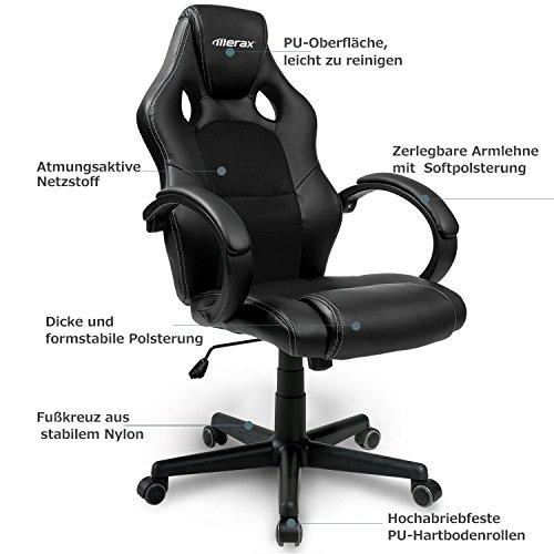 Merax® Bürostuhl Racing Stuhl Sportsitz