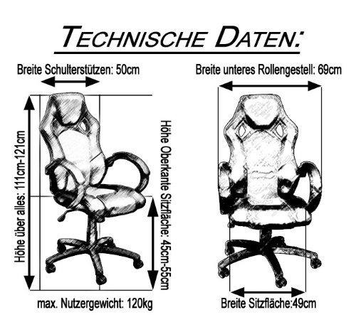 Miganeo Racing Bürostuhl Drehstuhl