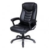 Songmics schwarz Bürostuhl Chefsessel Bürodrehstuhl hoher sitzkomfort OBG21B - 1