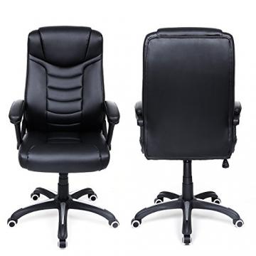 Songmics schwarz Bürostuhl Chefsessel Bürodrehstuhl hoher sitzkomfort OBG21B - 5